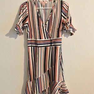 Stripe wrap dress w/ darling ruffle detail